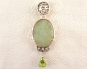 Vintage Sterling Oval Jade and Pear Cut Peridot Asian Pendant
