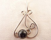 Vintage Open Scrollwork Sterling Snowflake Obsidian Stone Pendant