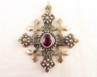 Massive Antique Jerusalem Silver Medieval Cross Pendant with Glass Ruby Gemstone