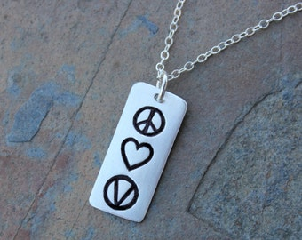 Peace Love Vegan Necklace - handmade fine silver rectangle charm- peace sign, heart & vegan symbol, sterling silver chain- free shipping USA