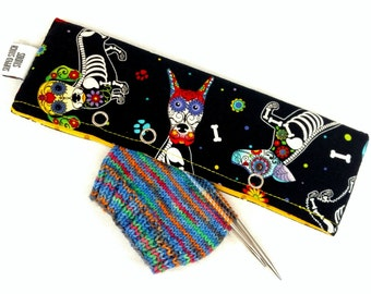 Stitch Holder Point Protector Zipper Pouch Needle Nook - DPN and Circular Project Holder - Sugar Skull Puppy