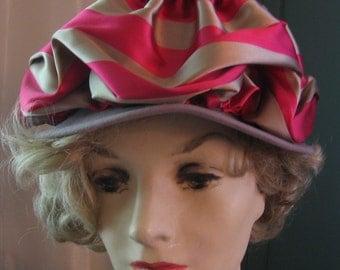 Vintage Day Hat Striped Ruched Rose and Beige Wide Band Hat of Merrimac Fur Felt Vintage Brimmed Topper with Lydia New York & G Fox Label