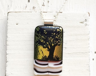 Sunset Tree - Fused Glass Necklace - Tree - Dichroic Jewelry - Fused Glass Pendant - Dichroic Glass Necklace- Fused Dichroic Glass Jewelry