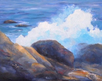 Big Splash, 8x10 Original Oil on Canvas Daily Painting, Beach Art