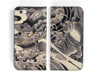 Leather iPhone 6 case, Galaxy S6 Case, iPhone 6s Case, iPhone 6s Plus Case, iPhone 5/5s Case - Tiger and Dragon Tattoo   (Exclusive Range)