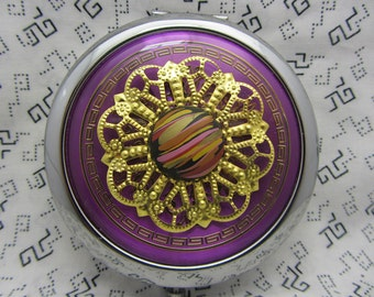 compact mirror with protective pouch - unique gifts for bridesmaids, maid of honor, mother of bride - purple patch