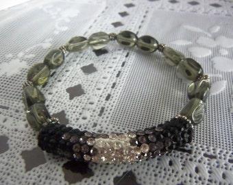 "8"" Smokey, Antiqued Silvertone Beaded Stretch Bracelet w. Black/Gray/Clear Rhinestone Center Tube"