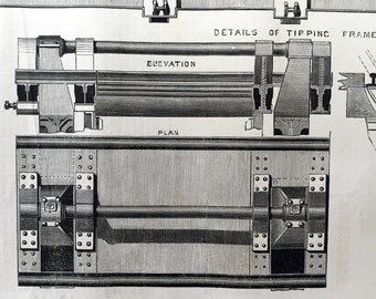 1878 English Antique Print of Tipping Frames and Drop Shoots - Old Engineering Drawing - Midland Railway - Saint Pancreas