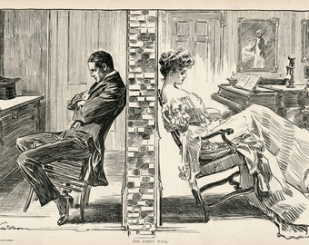 Gibson Girl - The Party Wall - Humorous 1906 Antique Charles Dana Gibson Print