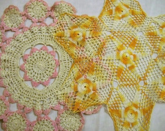 Vintage Doilies, Set of 2 Doily, Round Doily, Pink and White Doily, Gold Doily, Rustic Wedding Decoration