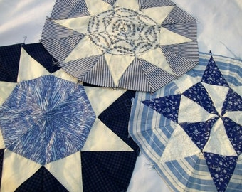 Quilted Pillow Squares, Set of Three, Blue and White, Quilt Squares, Pillow Squares