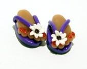 Flip Flops - Handmade Polymer Clay BEADS with Feet