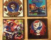 Custom Made Glass Photo Coasters (4) Piece Set / Grateful Dead /Classic Rock Band Gifts/ Housewarming Gift
