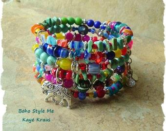 Boho Bracelet, Colorful Boho Fashion, Layered Bohemian Bracelet, Free Modern Hippie, BohoStyleMe, Kaye Kraus