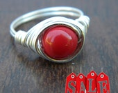 Size 7 Wire Wrapped Ring Silver with Swarovski Gemcolor Red Coral opaque glass pearl