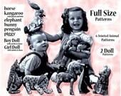 6 Vintage Jointed Stuffed Animal Full Size Patterns  Bunny  Kangaroo  Elephant  Pony  Penguin  Pig  2 Dolls  J425
