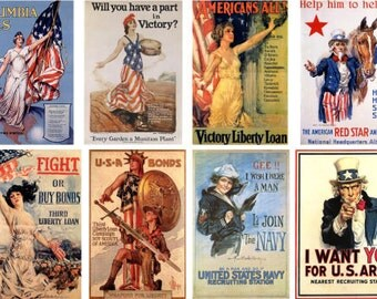 """Altered Pages- High Quality Reproduction of Vintage Patriotic Posters (Sheet is 8.5"""" x 11"""")"""
