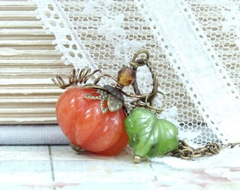 Pumpkin Necklace Autumn Necklace Halloween Necklace Pumpkin Jewelry Thanksgiving Necklace Fall Necklace