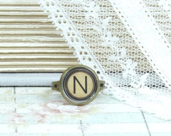 Letter N Ring Typewriter Key Ring Initial N Ring Letter Ring Adjustable Ring N Jewelry Victorian Ring