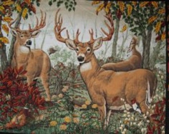 Deer  fabric wall or quilt panelfamily wild animals in the woods picture