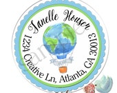 Hot Air Balloon Stickers, Return Address Labels,  Party Favors