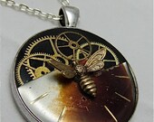 Steampunk Watch movement pendant - Bee in the works - Steampunk Necklace - Repurposed art