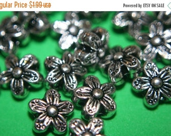 ON SALE CLOSEOUT Sale  - Silver Plated Sakura Cherry Blossom Charm Beads -10mm- 20 pcs
