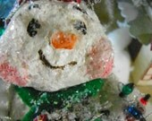 One of a Kind Sculpted Paper Mache Snowman Vintage Style Folk Art