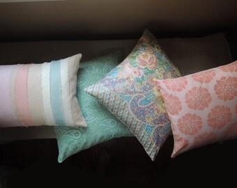 Sherbet coordinating hand block printed floral decorative blush pink aqua pastel boho home decor vintage cotton colorful pillow linen covers