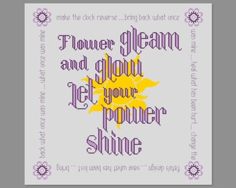 Flower Gleam And Glow Song Tangled Quote Cross Stitch PDF PATTERN Only