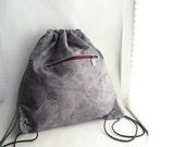 Grey/Maroon Floral Lightweight Backpack