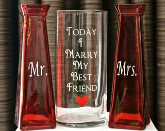 Unity Sand Ceremony Glass Containers - Red and Clear Glass Today I Marry My Best Friend - Ready to Ship! Personalization available