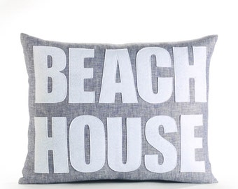 "Linen Pillow, Throw Pillow, Decorative Pillow, ""Beach House"" pillow, 14x18 inch"