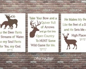 Hunting Nursery Decor, Christian Hunting Decor, INSTANT DOWNLOAD, Psalm 42:1, Genesis 27 3, Psalm 18 33, Deer Signs, Deer Scripture Sign
