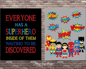 Superhero Classroom Art, Superhero Classroom Decor, DIGITAL, YOU PRINT, Superhero Playroom, Teachers Superhero Decor, Superhero Room Decor