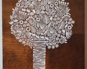 Screen print of a tree onto Reclaimed, Repurposed Wood; Ready to Hang Original art
