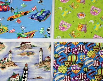 Two Yards I Spy Fabric, 4 different fabrics, 1/2 yard each, lighthouse, balloons, race cars, cats, Boys I Spy Fabric Quiltsy Destash Party