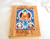 Thangka Art Book Box with  Woodburnt Lettering, Buddhist Spiritual Art