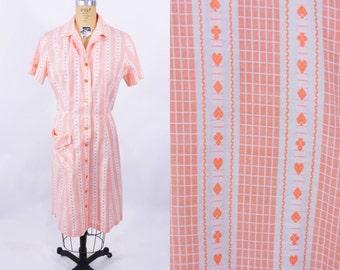 "1950s dress vintage 50s orange lottery card suit novelty print shirt dress L/XL W 30"""