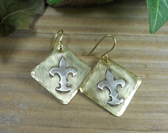 Gold dangle earrings, fleur dis lis dangle earrings, brass and silver dangle earrings, mixed metal jewelry designs, gift for her,