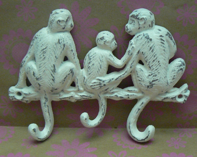 Monkey Cast Iron Three Hooks Wall Leash Hat Jewelry Hook 3 Hooks Shabby Style Chic Off White Cream Ecru Distressed Mom Dad Baby Monkeys