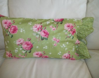 """Pillow Cover, Shabby Cottage Rose, Lumbar Throw Pillow Cover 12"""" x 20"""" Pillowcase"""