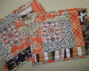 Orange Patchwork Snack Mat,  Set of 2 Placemats, Scrappy Patchwork Placemat