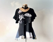 Black Upcycled Top Ruffle Sleeves Tattered Clothing Women's Rustic Shirt Rocker Chic Clothes Summer Festival Art Tunic Eco Gypsy L 'JENNA'