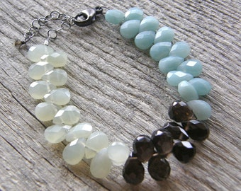 Colorblock Gemstone Bracelet, Aqua Blue Amazonite, Green New Jade and Brown Smokey Quartz Statement Bracelet