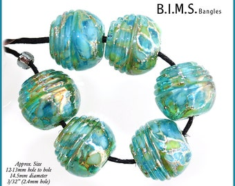 Lampwork Beads, 6pc Silvered Aqua Uniquely Shaped Half Ribbed Round Lampwork Glass Beads, Lampwork, Bims Bangles,, Made to Order