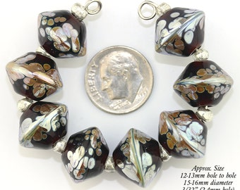 Dark Topaz and Gold Bicone lampwork beads - Made to Order