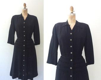 vintage 40s dress / 40s black dress / 40s Stalwart dress