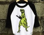 T-rex + Chainsaw Kids Baseball Tee