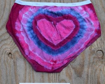 Heartbeats Tie Dye Women's Underwear (Hanes Womens Regular Briefs Size 9) (One of a Kind)